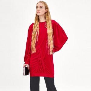 NWT Zara Tunic Pleated Red Dress